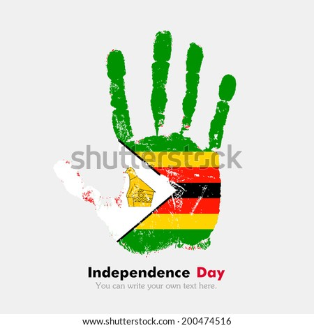 Hand print, which bears the flag. Independence Day. Grungy style. Grungy hand print with the flag. Hand print and five fingers. Used as an icon, card, greeting, printed materials. Flag of Zimbabwe