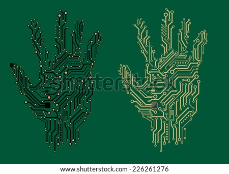 Hand prints formed with electrical circuit boards in two different colors on a green background, vector illustration - stock vector