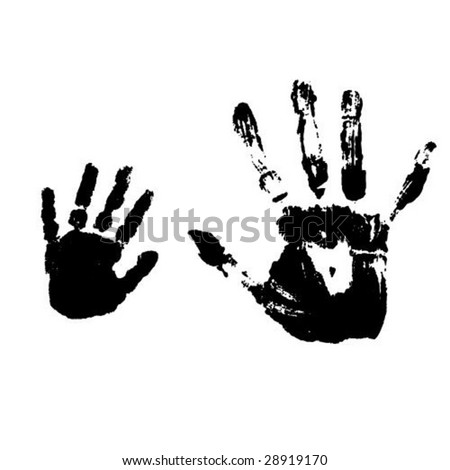 Hand prints of mother and her child