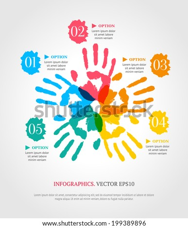 Hand prints with numbers. Creative infographic template for your business. Teamwork concept. - stock vector