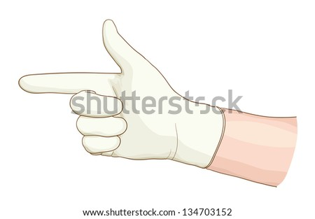 Hand proctologist with a latex glove. Vector illustartion. - stock vector