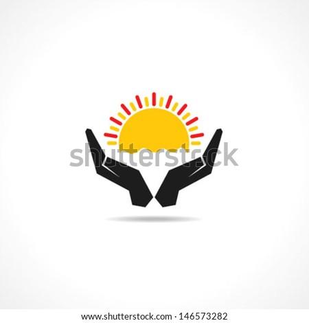 Hand protecting sun icon stock vector  - stock vector