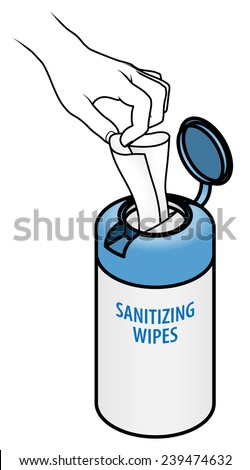 Hand pulling a tissue from a tub of wet wipes/ tissues. - stock vector