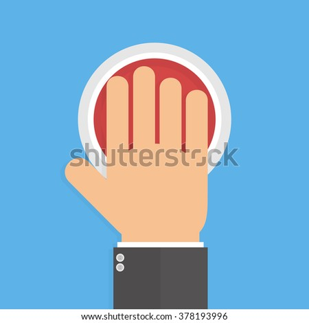 Hand pushing or pressing the big red button isolated on blue background. Top view. Flat style - stock vector