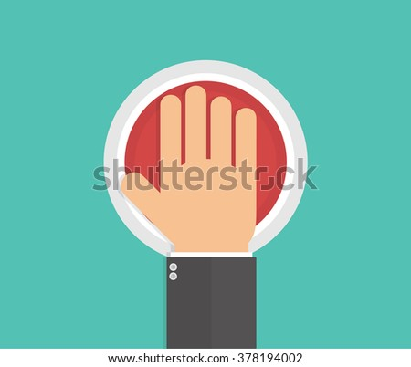 Hand pushing or pressing the big red button. Top view. Flat style  - stock vector