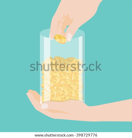 Hand puts money coins in to clear bottle. making money. For business and finance concept. business man saving money. Profit - stock vector