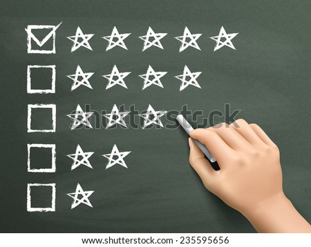 hand putting check mark with chalk on five star rating - stock vector