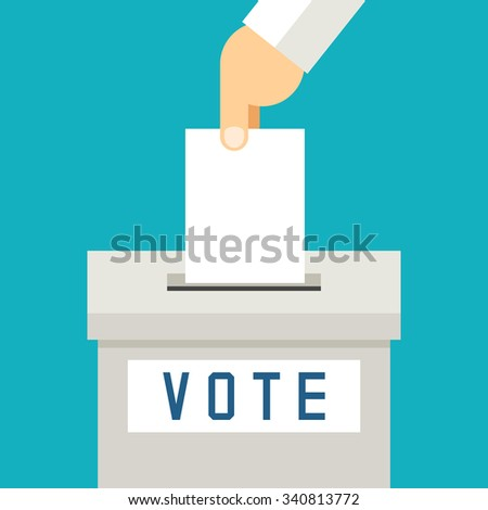 Hand putting voting paper in ballot box. Referendum and polling, vector illustration - stock vector