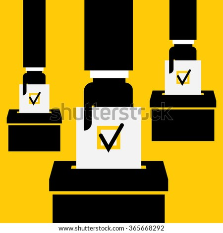 hand putting voting paper in the ballot box - stock vector