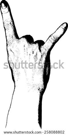 Hand raised in rock n roll salute with two fingers raised - stock vector