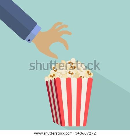 Hand reaching for popcorn vector illustration - stock vector
