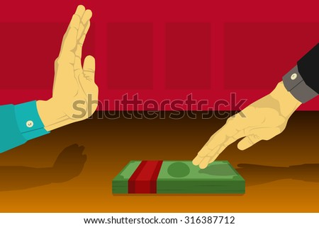 Hand rejecting bribes given in the table - stock vector