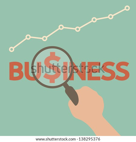 Hand searching business - stock vector