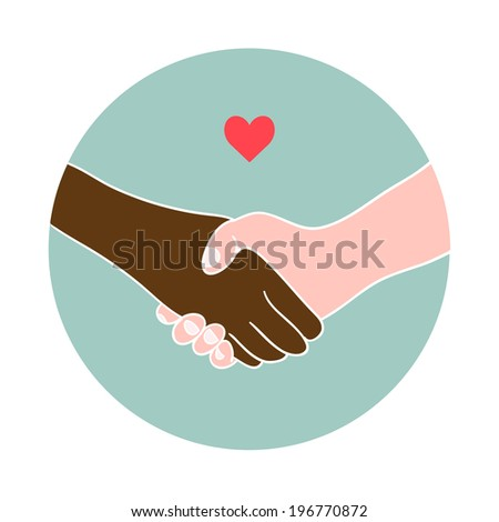 Hand shake between black and white man. Stop racism.  - stock vector