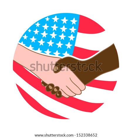 Hand shake between black and white man. Stop racism. American Flag - stock vector