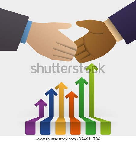 hand shake concept with business icon design, vector illustration 10 eps graphic.
