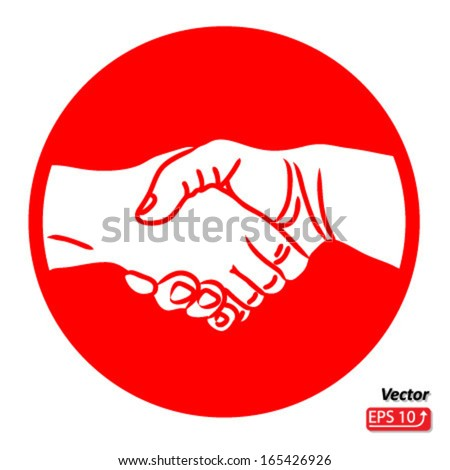 Hand shake, shaking hands symbol, sign, isolated on white background vector