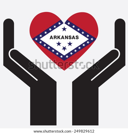 Hand showing Arkansas flag in a heart shape. Vector illustration.  - stock vector