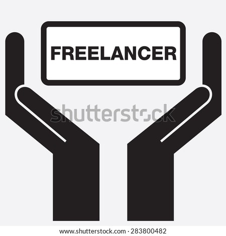 Hand showing freelancer sign icon. vector illustration