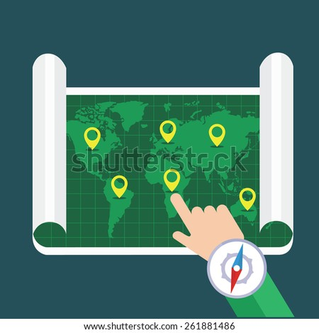 Hand showing location on map. Flat map with notation and markers. Vector illustration. - stock vector