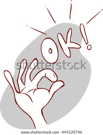 Hand showing OK. Painted vector hand. All perfectly. - stock vector
