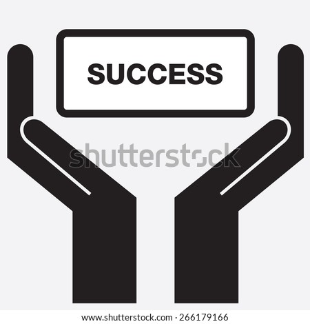 Hand showing success sign icon. Vector illustration. - stock vector