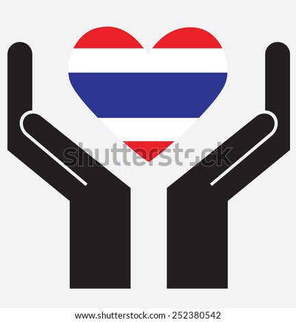 Hand showing Thailand flag in a heart shape. Vector illustration.