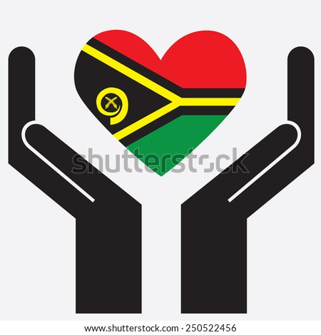 Hand showing Vanuatu flag in a heart shape. Vector illustration.  - stock vector