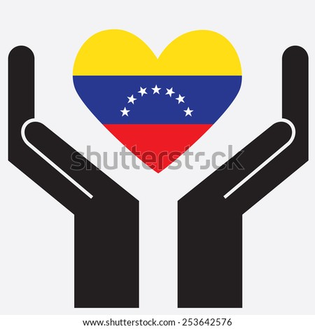 Hand showing Venezuela flag in a heart shape. Vector illustration. - stock vector