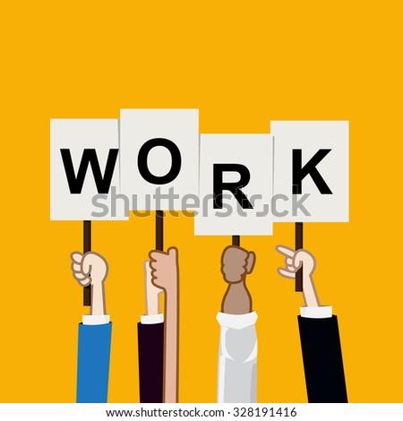 Hand showing work text, teamwork concept vectori illustration eps10 - stock vector