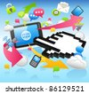 Hand Sign ,cloud computing,internet,business set - stock vector