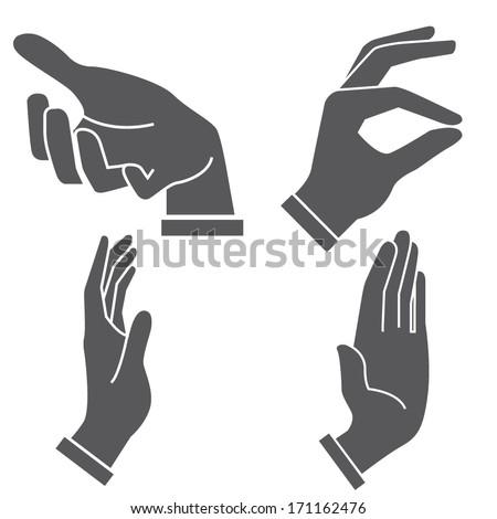 hand sign set - stock vector