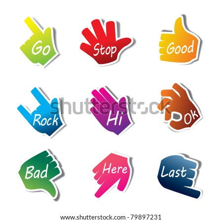 Hand Sign vector set - stock vector