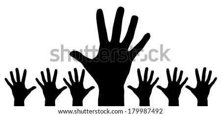 Hand silhouette on a white background isolated. Vector EPS 10 illustration.