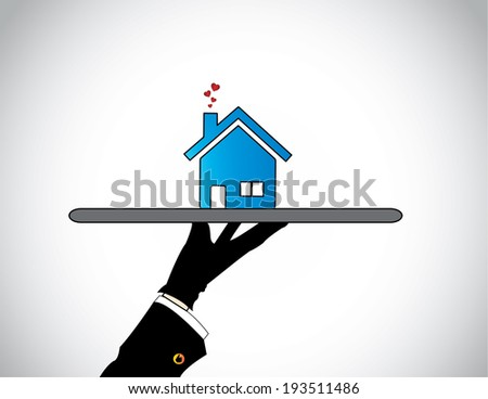 hand silhouette presenting best Home or House with flying hearts. A housing salesman showcasing offering the best blue colored simple apartment or flat to prospective buyers - concept illustration - stock vector