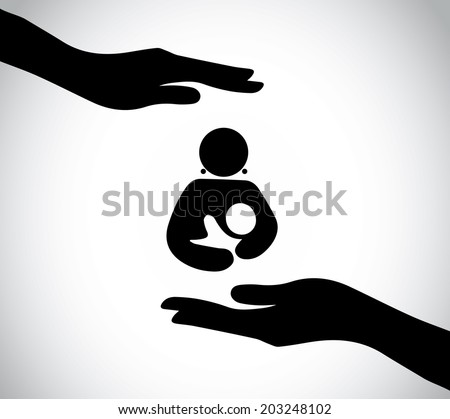 hand silhouette protecting happy mother and child baby. human silhouette hands taking care and supporting nursing mother and newborn baby - concept illustration art - stock vector