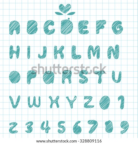 Hand sketch Alphabet font and number on note paper - Cute calligraphic set 01