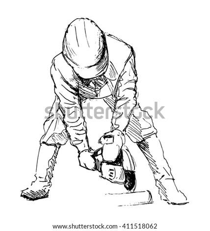Hand sketch construction worker - stock vector