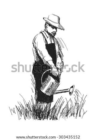 hand sketch gardener - stock vector