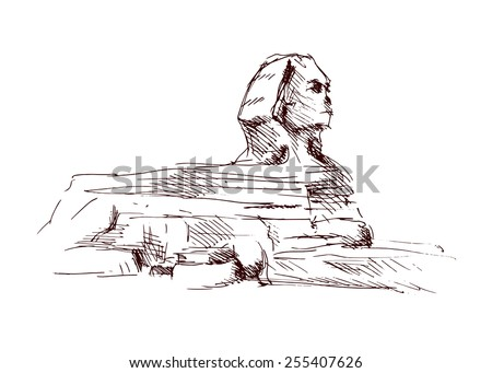 Hand sketch sphinx. Vector illustration - stock vector
