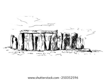 hand sketch Stonehenge - stock vector