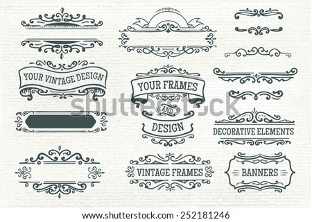 Hand-sketched banners and elements for your design - stock vector