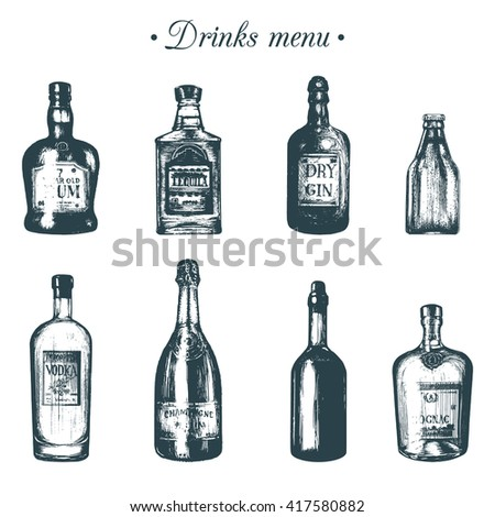 Hand sketched bottles of alcoholic beverages. Vector illustrations set of drinks. Hand drawn rum, gin, tequila, vodka, beer, wine, champagne, cognac. May be used for cafe, restaurant, bar menu
