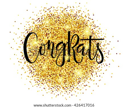 Hand sketched Congrats text as badge and icon. Congrats postcard, card ...