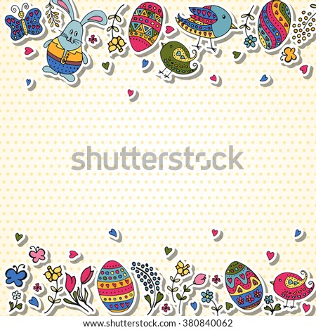 Hand Sketched Happy Easter Text Logotype Stock Vector