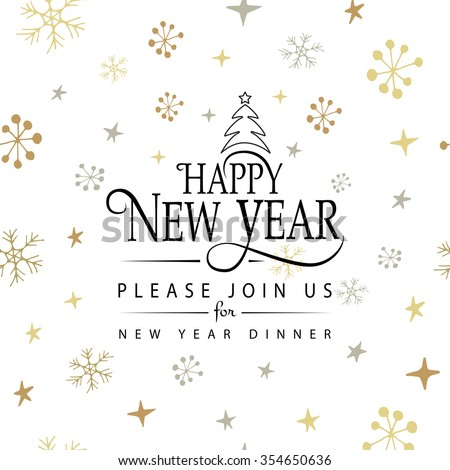 Hand sketched Happy New Year logotype, badge and icon typography. Hand drawn lettering of Happy New Year for New Year greeting card, dinner invitation template. Happy New Year banner, flyer - stock vector