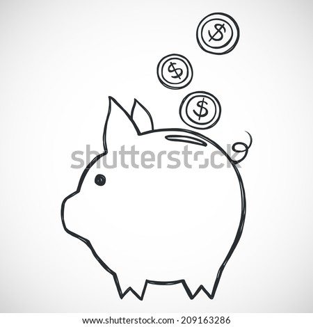 Hand sketched piggy bank. Freehand sketch of icon for savings. - stock vector