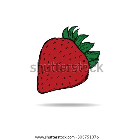 Hand-sketched strawberries.Suitable for clothing , ads , signs, menus and web banner designs . Vector background . - stock vector