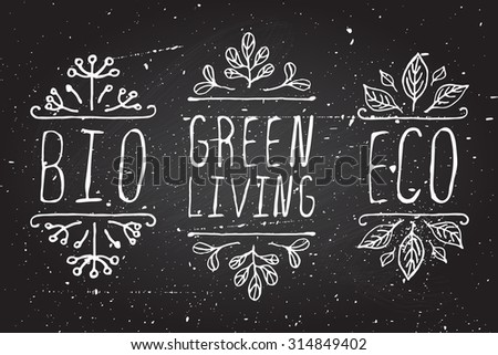 Hand-sketched typographic elements. Eco product labels on chalkboard background. Suitable for ads, signboards, packaging and identity and web designs. - stock vector