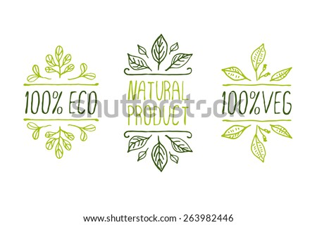 Hand-sketched typographic elements. Natural product labels. Suitable for ads, signboards, packaging and identity and web designs - stock vector
